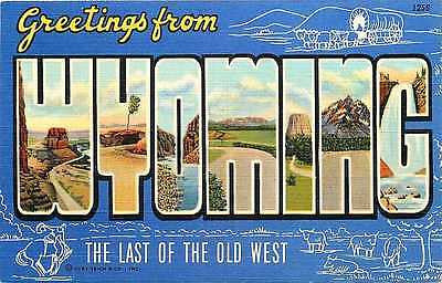 Wyoming WY 1940 Large Letter Greetings from Wyoming Vintage Linen Postcard