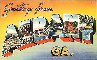 Albany Georgia GA 1940s Large Letter Greetings from Albany Vintage Postcard