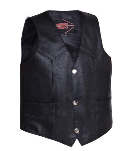 Kids Leather Vest - Plain Side