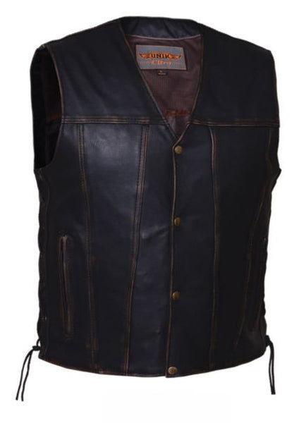 Men's COLORADO Brown Vest in Drum Dyed Naked Cowhide
