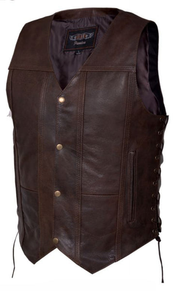 Mens 10 Pocket RETRO Brown Vest