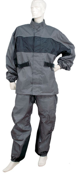 Mens REVOLUTION GEAR Grey 2-Tone Nylon Rainsuit