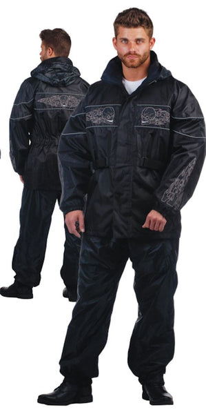 Mens REVOLUTION GEAR Traditional Nylon Rainsuit With Skull