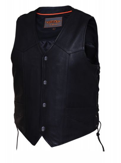 Mens TALL Traditional Snap Vest Plain Sides