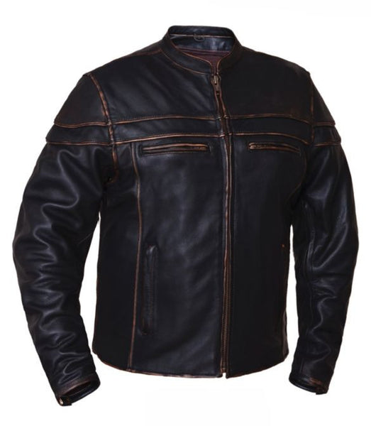 Men's COLORADO Brown Jacket in Drum Dyed Naked Cowhide