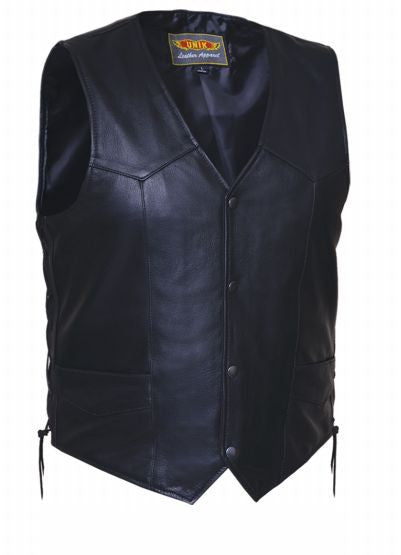 Mens TALL Traditional Premium Snap Vest Plain Sides