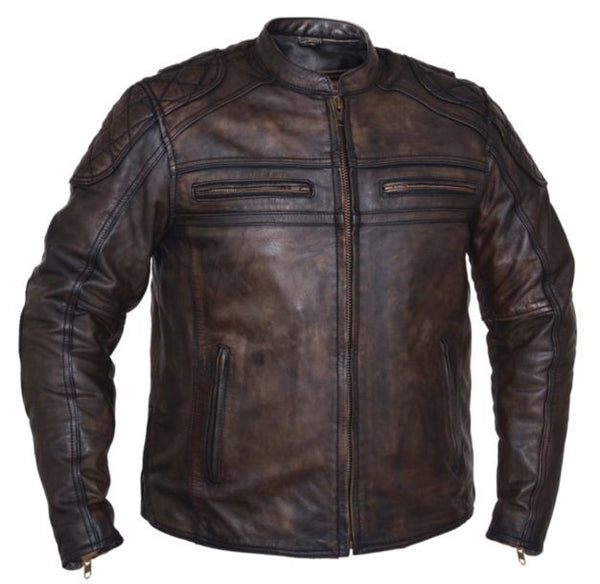Mens MONTANA Brown Leather Jacket
