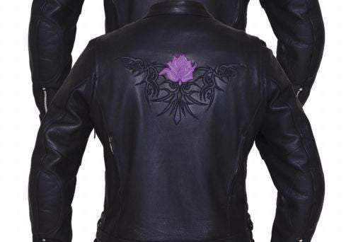 Ladies ULTRA Reflective Jacket - Rose Embroidery - Purple