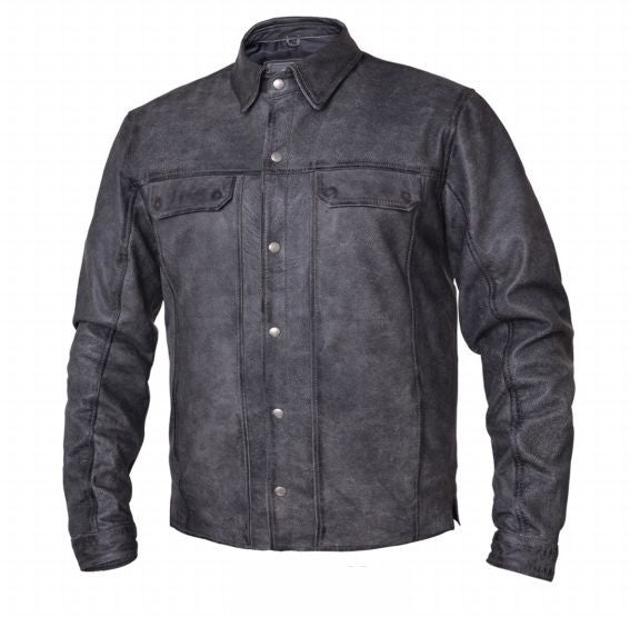 Mens TOMBSTONE GREY Lightweight Leather Shirt