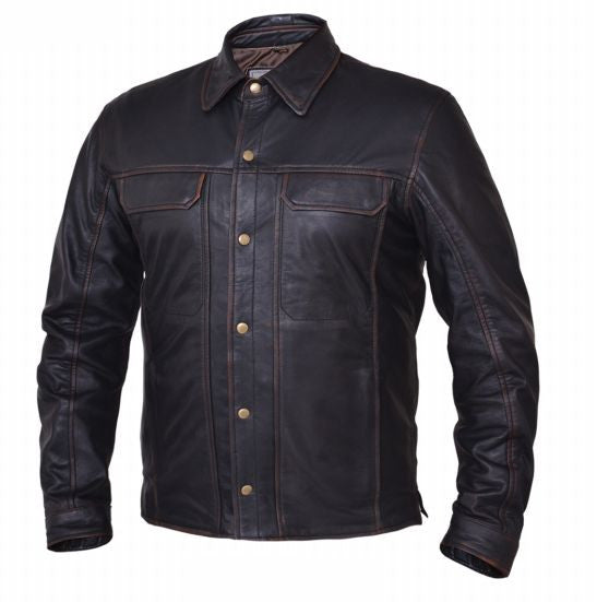 Mens NEVADA BROWN Lightweight Leather Shirt