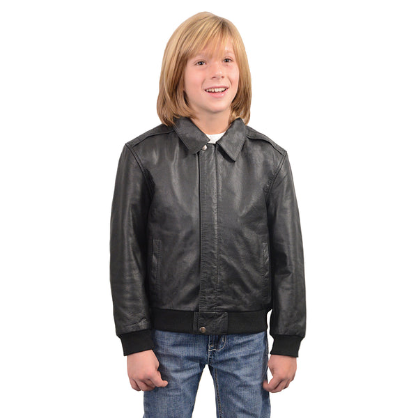 Youth Size Leather Bomber Jacket