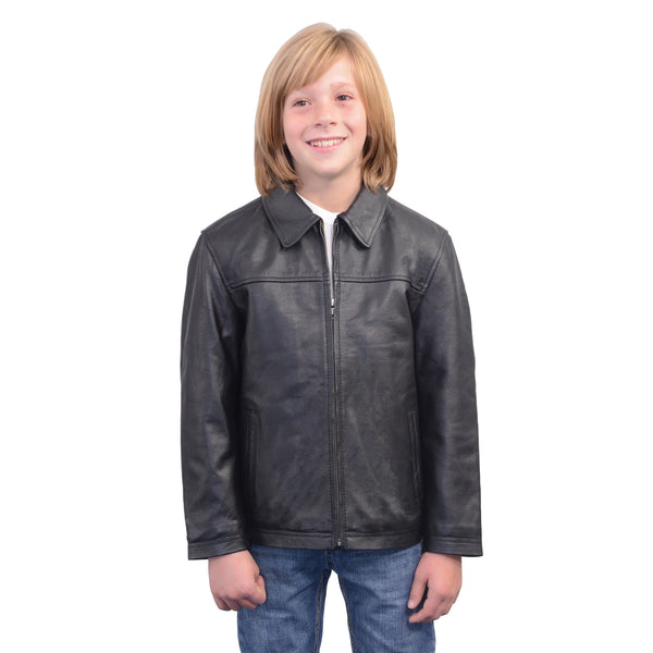 Youth Size Leather JD Zipper Front Jacket