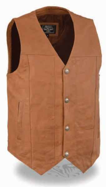 Men's Western Style Plain Side Vest W/ Buffalo Snaps