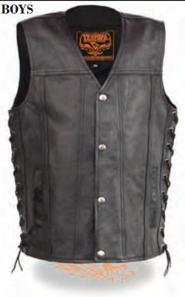 Youth Sized Snap Front Side Lace Leather Vest