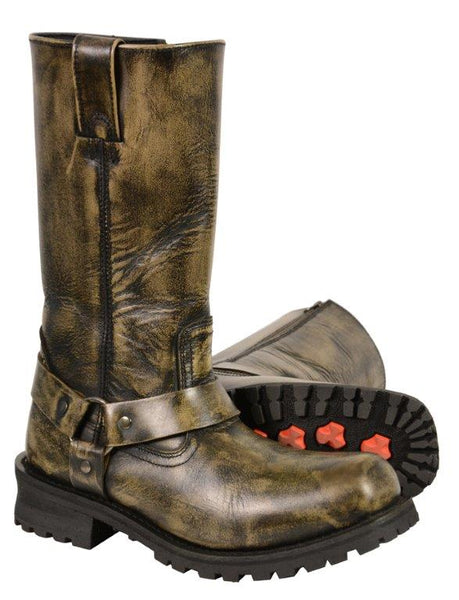 Men's Distressed Brown 11″Inch Classic Harness Square Toe Boot