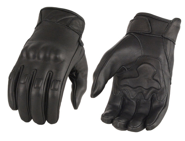 Men's Leather Gloves w/ Rubberized Knuckles & Gel Palm