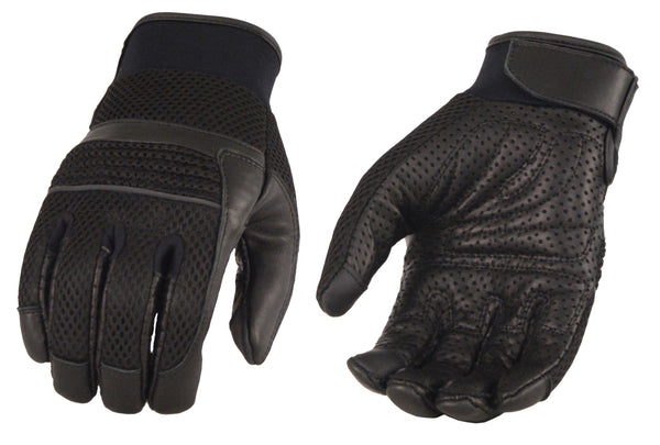 Men's Leather & Mesh Racing Gloves with Gel Palm, Reflective Piping -Touch Screen Fingers