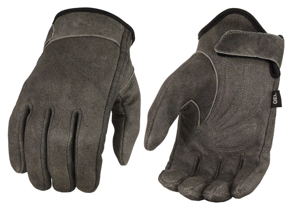Men's Distressed Gray Leather Gloves with Stretch Side, Gel Palm & Wrist Strap
