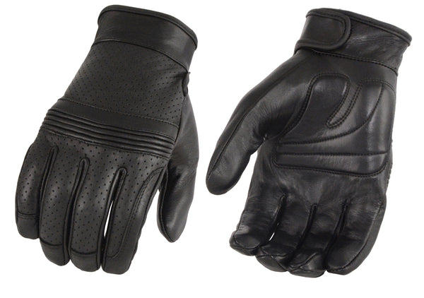 Men's Premium Leather Perforated Glove w/ Flex Knuckles – Touch Screen Fingers