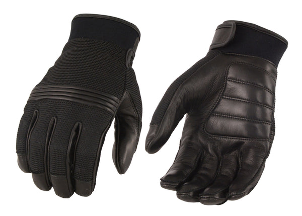 Men's Leather/Mesh Perforated Glove w/ Gel Palm & Flex Knuckles