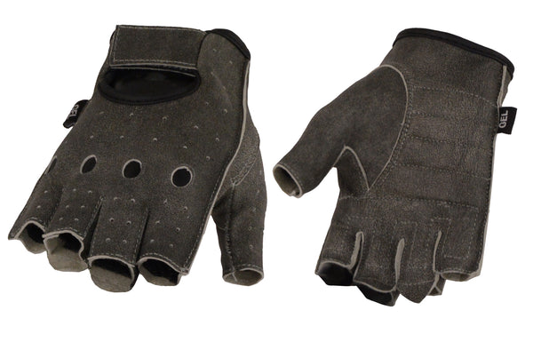 Men's Distressed Gray Leather Fingerless Gloves w/ Gel Padded Palm