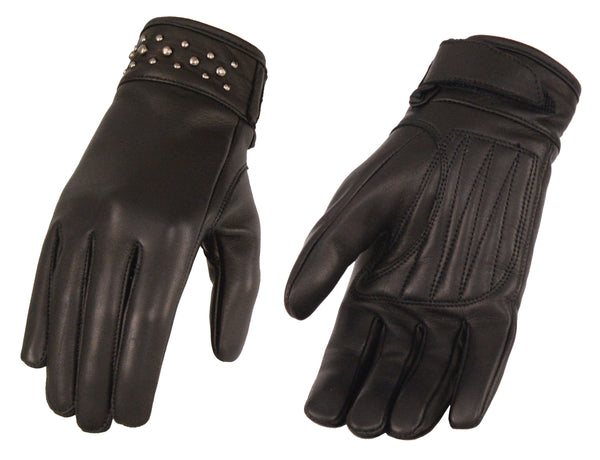 Women's Leather Glove w/ Gel Pam & Rivet Detailing