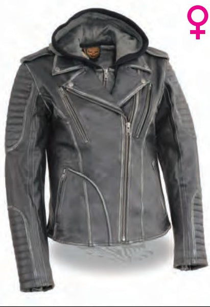 Women's Rub-Off M/c Jacket W/ Full Hoodie Jacket Liner