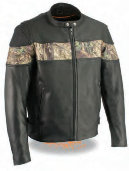 Men's Side Stretch Leather Racer Jacket W/ Mossy Oak® Camo Print