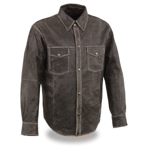 Men's Distressed Gray Lightweight Leather Snap Front Shirt