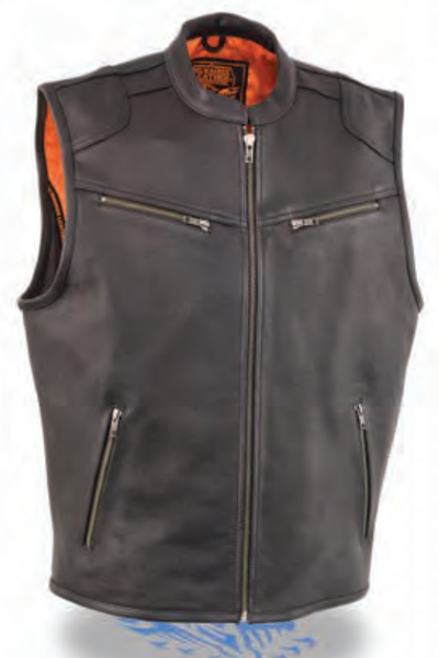 Men's Zipper Front Leather Vest W/ Cool Tec® Leather