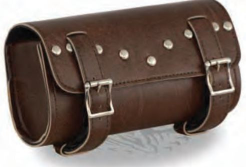 Two Buckle Antique Brown PVC Studded Tool Bag W/ Quick Release