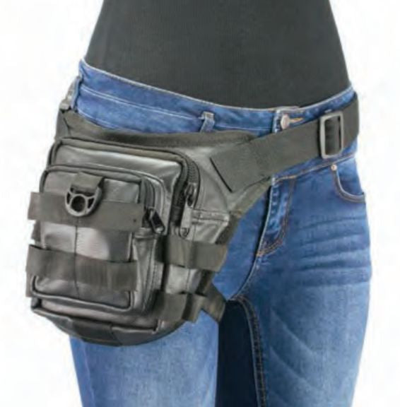 Conceal & Carry Black Leather Tactical Thigh Bag W/ Waist Belt