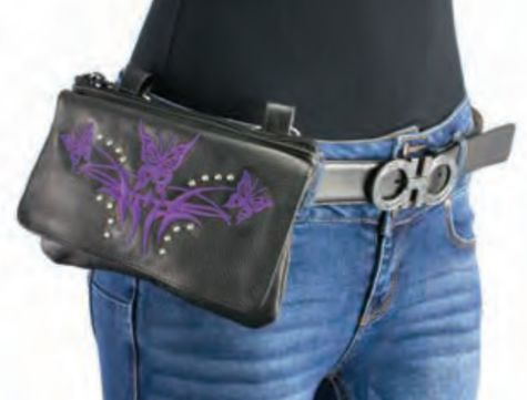 Women's Black Leather Multi Pocket Belt Bag W/ Gun Holster