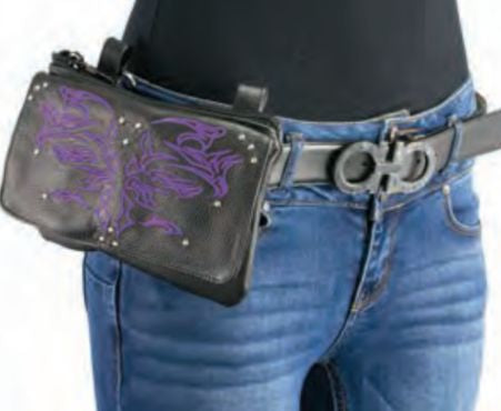 Women's Leather Multi Pocket Belt Bag W/ Gun Holster