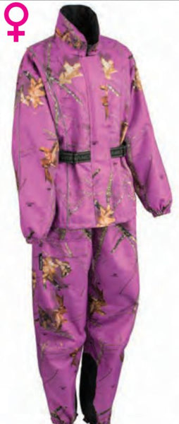 Women's Purple Mossy Oak® Camo Rain Suit Water Proof W/ Reflective Piping