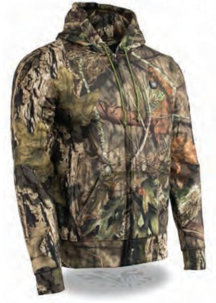 Men's Zipper Front Mossy Oak® Camo Heated Hoodie W/ Front & Back Heating