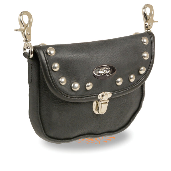 Leather Belt Bag w/ Studded Flap & Belt Clasps