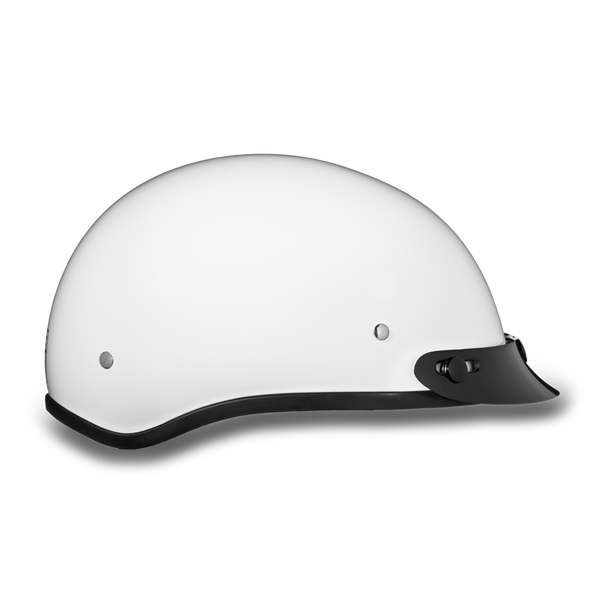 Daytona Skull Cap - Hi-Gloss White - With Visor