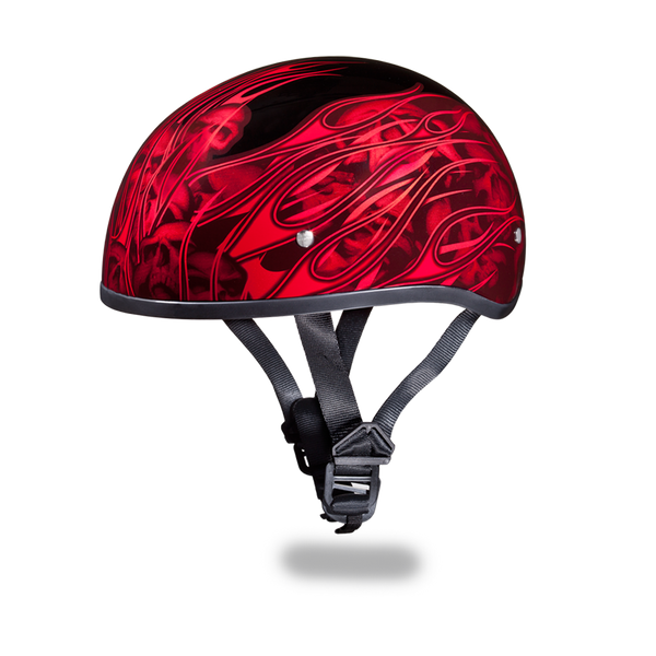 Daytona 1/2 Shell Hemlet - Multi Skull Flames Red
