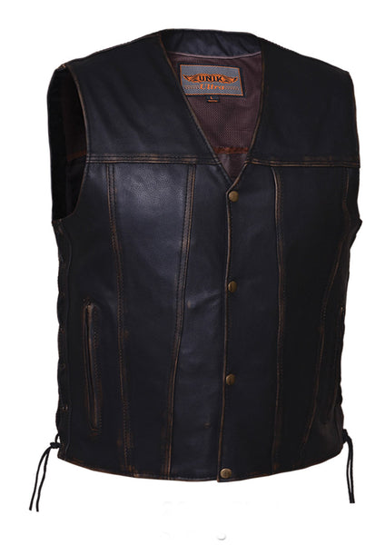 Mens Colorado Brown Leather Concealed Carry Vest