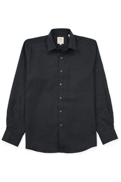 Regular fit beach wear linen shirt black