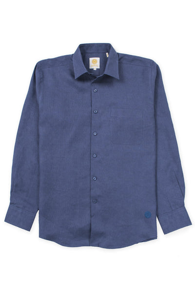Regular fit beach wear linen shirt ink blue