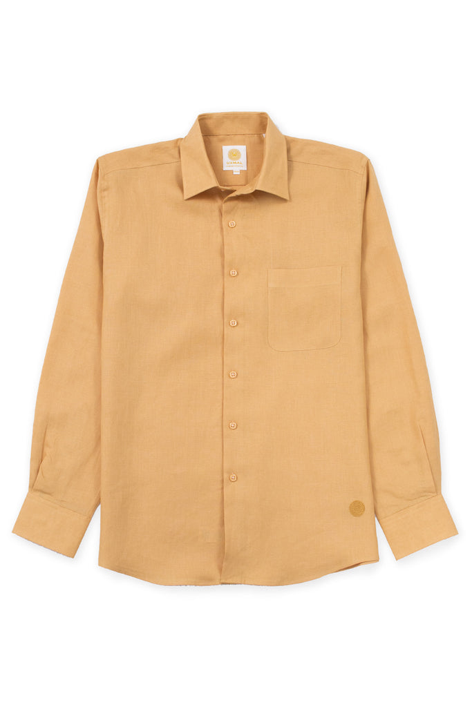 Regular fit beach wear linen shirt mustard