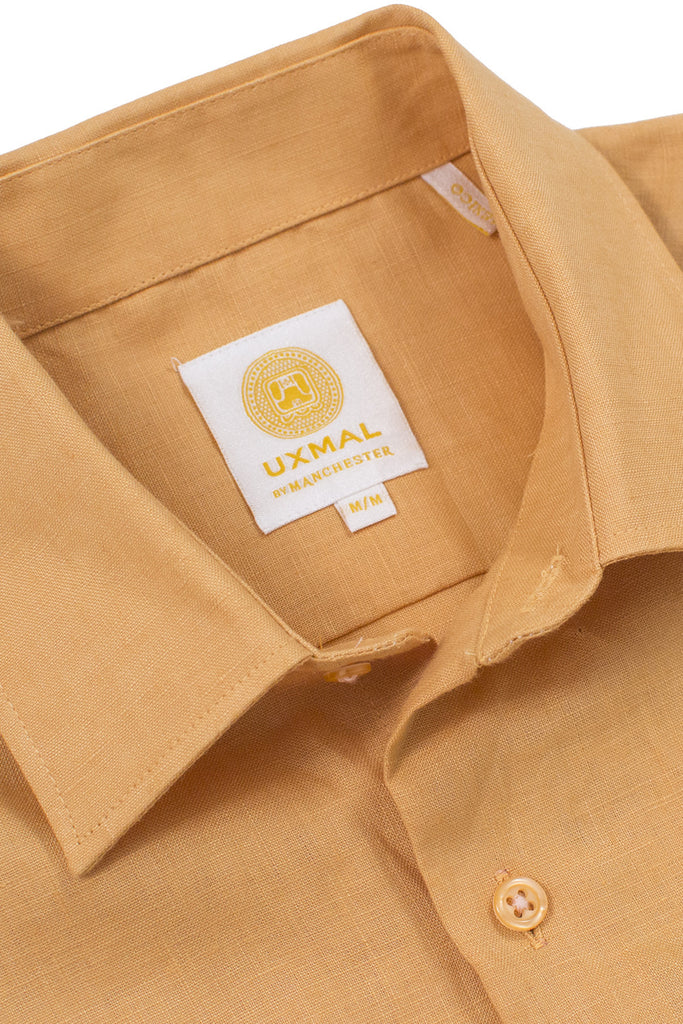 Regular fit beach wear linen shirts mustard