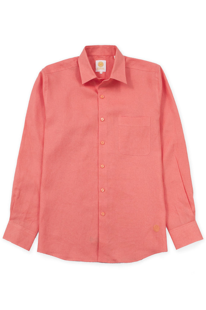 Regular fit beach wear linen shirt orange