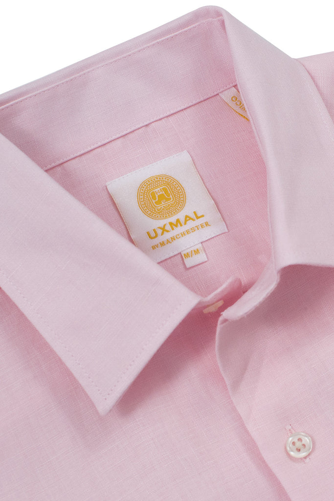 Regular fit beach wear linen shirts pink