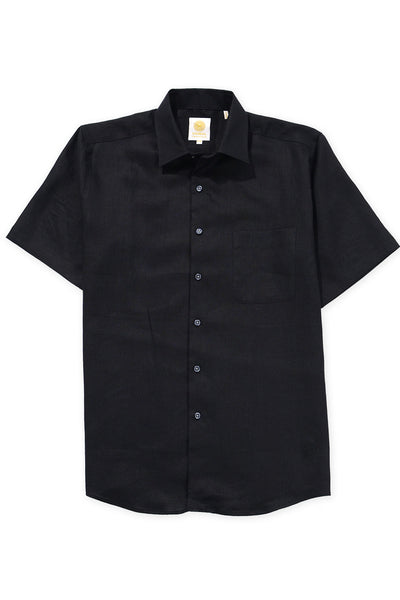 Regular fit short sleeve boat wear linen shirt black