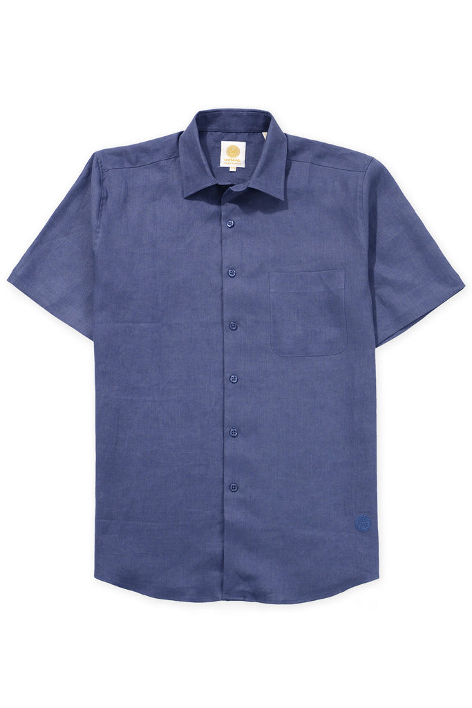 Regular fit short sleeve boat wear linen shirt ink blue