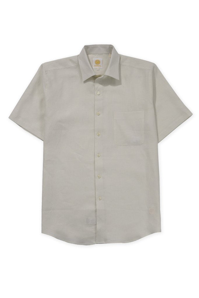 Regular fit short sleeve boat wear linen shirt ivory