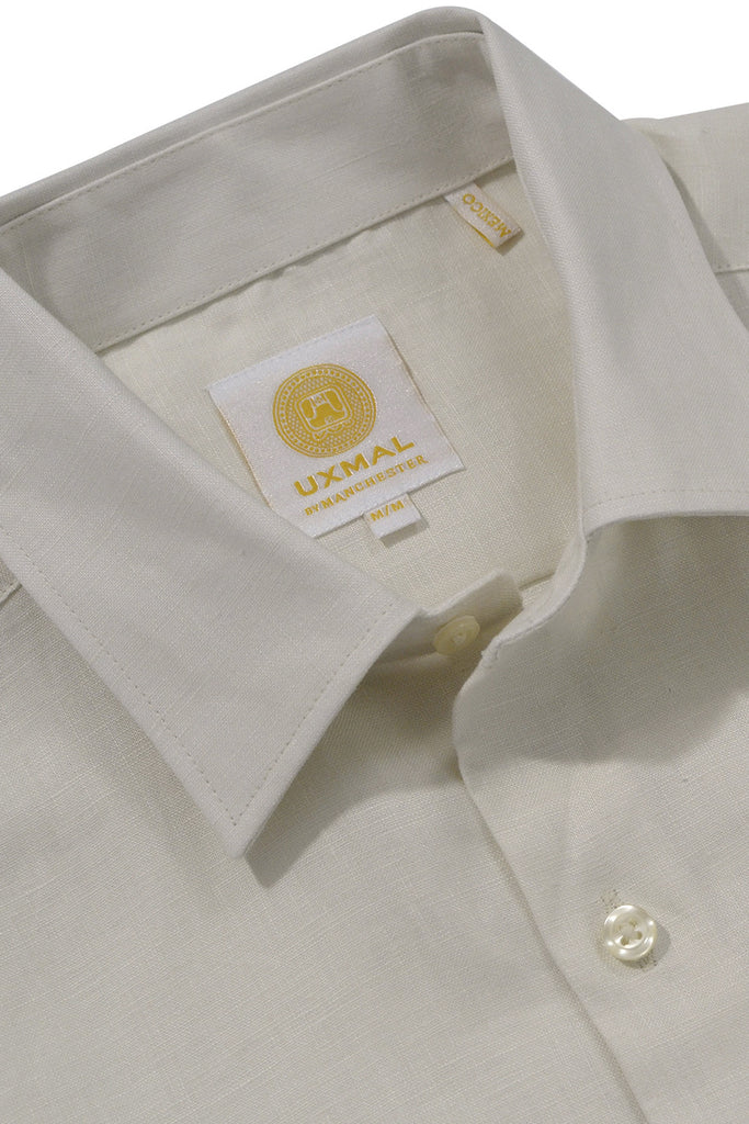 Regular fit short sleeve boat wear linen shirts ivory